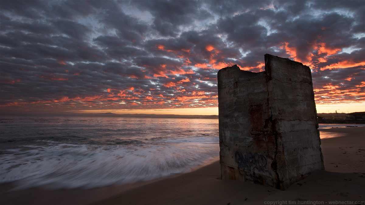 Cannery ruins on San Carlos beach in Monterey just before sunrise.
